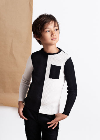 Belati Color Block Ribbed Sweater with Pocket
