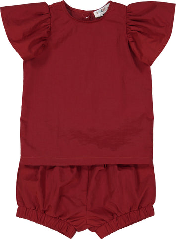Coco Blanc Two Piece Baby Ruffle Set - Red
