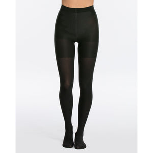Black/Brown Front View - SPANX® reversible tights offer two colors in one style.