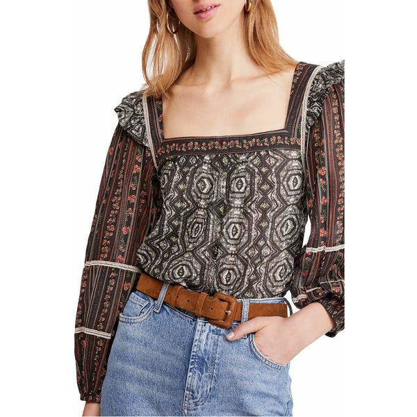 Free People Mostly Meadow Blouse in Black OB1013594