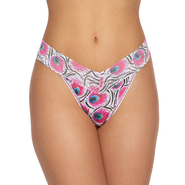 Hanky Panky Rolled Pink Plumes Original Rise Thong 3T1182P