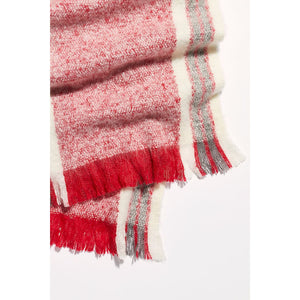 Free People Brushed Racer Stripe Blanket Scarf in Black or Red ACCFP9742086