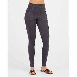 Spanx Stretch Twill Ankle Cargo Pant in Washed Black