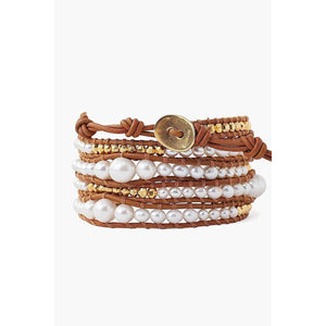 Chan Luu White Pearl and Gold Nugget Wrap Bracelet BG-5869-WHITE-PEARL