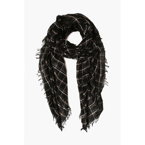 Chan Luu Black Mix Plaid Wool Scarf Black Mix Plaid Wool Scarf BRH-SC-478-BLACK-MIX