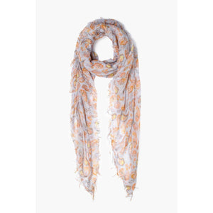 Chan Luu Blue Fall Paisley Print Cashmere and Silk Scarf BRH-SC-499-PEARL-BLUE