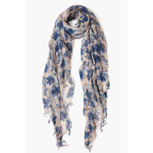 Chan Luu Indigo Blue French Floral Cashmere and Silk Scarf BRH-SC-533-JET-STREAM