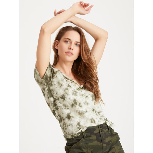 Sanctuary Good Vibes 100% Linen Henley Tee in Green/White Tie Dye