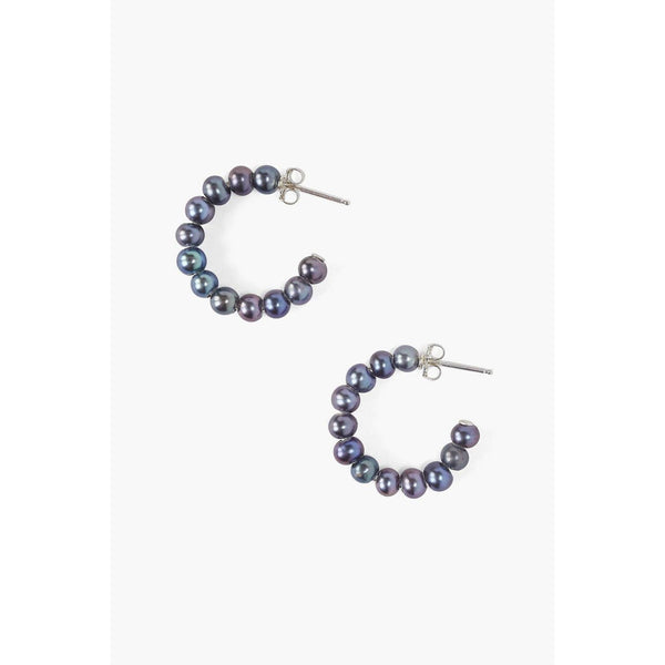 Chan Luu Peacock Grey Pearl Holly Hoop Earrings ES-5284-PCK-GREY-PRL