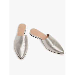 Fashionable ABLE Marlene Feminine Mule in Silver Suede