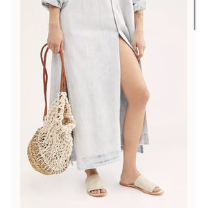 Free People Vicinte Slide Sandals in Luggage (Tan) and White 56313224