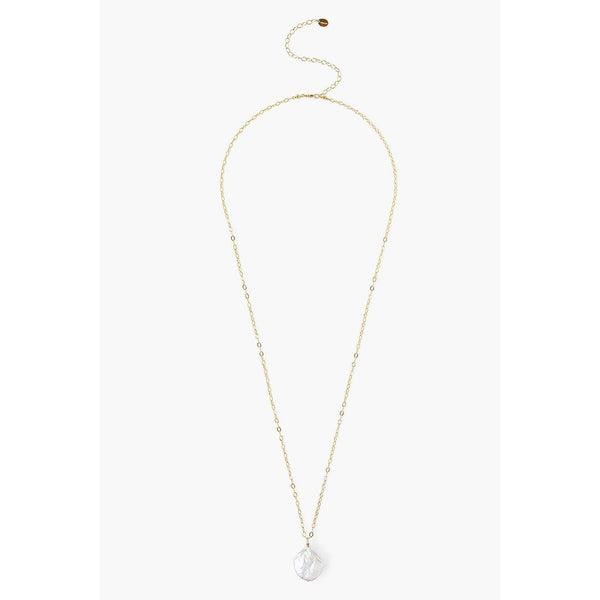 Chan Luu White Pearl And Gold Long Necklace NG-14109-WHITE-PEARL