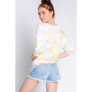 PJ Salvage Long Sleeve Tie-Dye Top in Sunshine RXSMLS-SUNSHINE