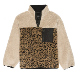 Rails Saga Cream Leopard Mix Sherpa Pullover Jacket