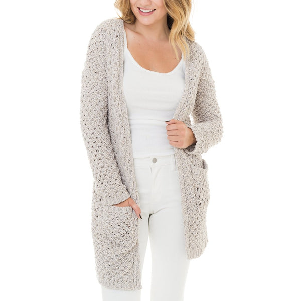 Woven Heart Textured Knit Cardigan in Ivory