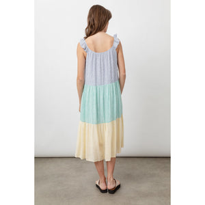 Rails Capri Mixed Rainbow Striped Linen Midi Dress