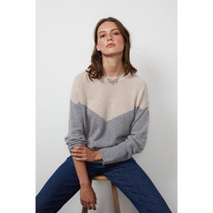 Velvet by Graham & Spencer Mika Cashmere Sweater in Grey