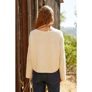 Velvet by Graham & Spencer Emery Cotton Boucle Sweater in Ecru
