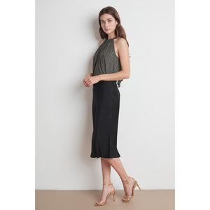 Velvet by Graham & Spencer Calissa Satin Viscose Skirt in Black