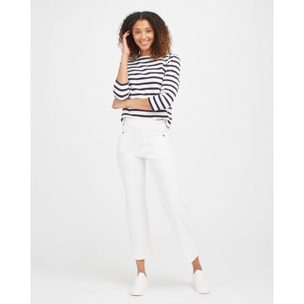 Spanx Stretch Twill Cropped Wide Leg Pant in Bright White