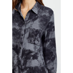 Rails Hunter Long Sleeve Button-Down Charcoal Tie-Dye