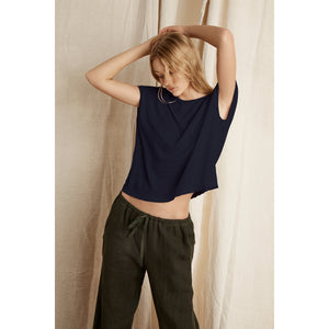 Velvet by Graham and Spencer Hudson Linen Knit Crew Neck Tee