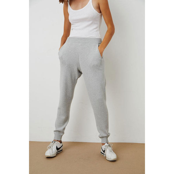 Velvet by Graham & Spencer Paula Polyester and Cotton Jogger in Black & Heather Grey