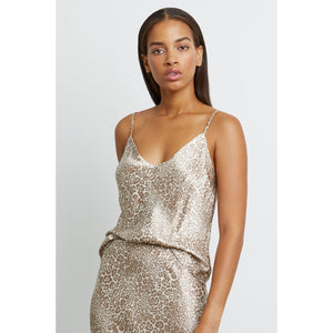 Rails Paola Tan Cheetah Satin Crepe V-Neck Tank Top