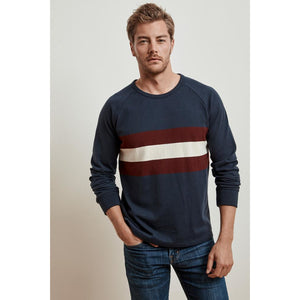 Velvetmen Emil Ruby Stripe Long Sleeve Crew in Postman
