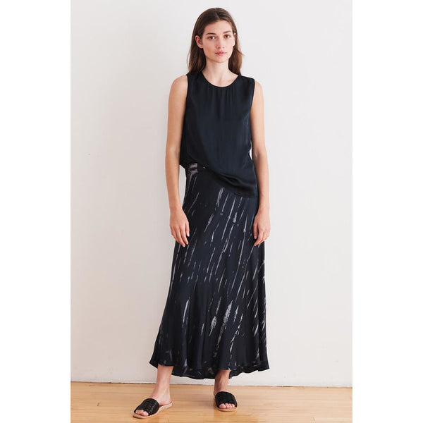 Velvet Trina Tie Dye Satin Long Skirt in Charcoal