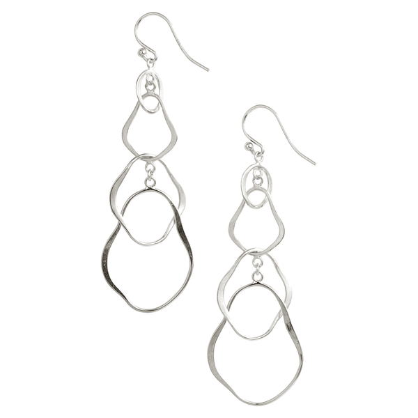 Chan Luu Sterling Silver Hammered Abstract Shaped Links Drop Earrings ES-5130