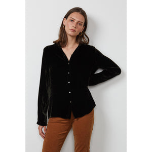 Velvet by Graham & Spencer Jensine Silk Velvet Button Down Shirt in Elm