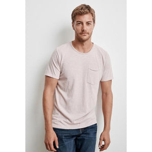 Velvetmen Chad Raw Edge Cotton Slub Pocket Tee in Nassau