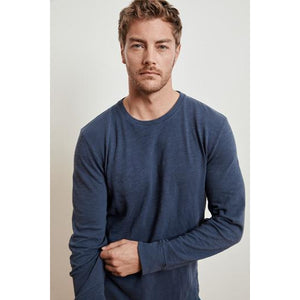 Velvetmen Kohl Slub Cotton Knit Long Sleeve Crew in Meridian
