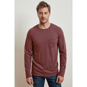 Velvetmen Simeon Cotton Slub Long Sleeve Raw Edge Tee in Spice