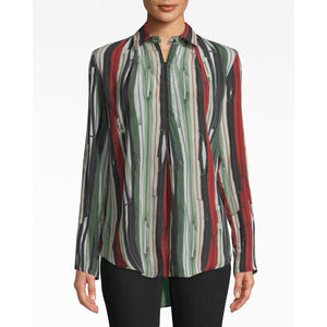 Nicole Miller Zipper Stripe Zip Front Boyfriend Silk Blouse BE10392