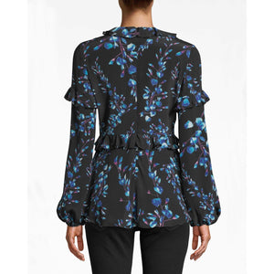 Nicole Miller Blossom Silk Ruffle Blouse Black/Multi Color BF10391