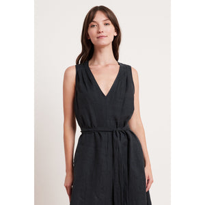 Velvet Harmony A-Line Linen Dress in Shadow