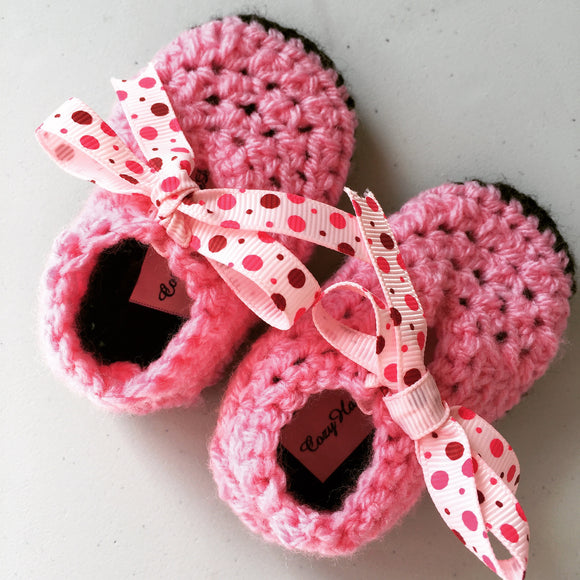 Baby Booties up to 6 Month with cotton ribbon