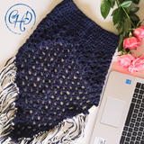 Navy and cream oversized cowl