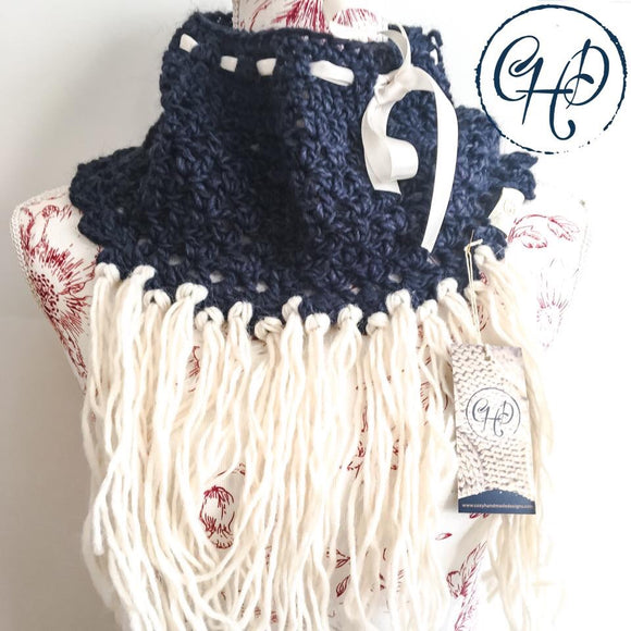 Cowl in navy and cream with cream ribbon and tassels