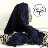 Hooded scarf in dark navy
