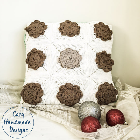 Brown/white Crochet Granny 100% cotton Cushion