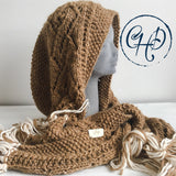 Hooded scarf in Dark Beige colour