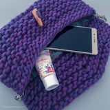 Virgin wool knitted bag in purple