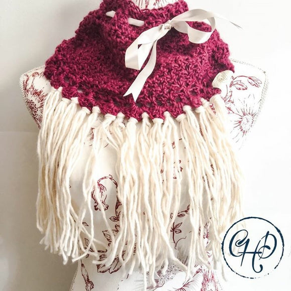 Cowl in Raspberry and cream with decorative ribbon and tassels