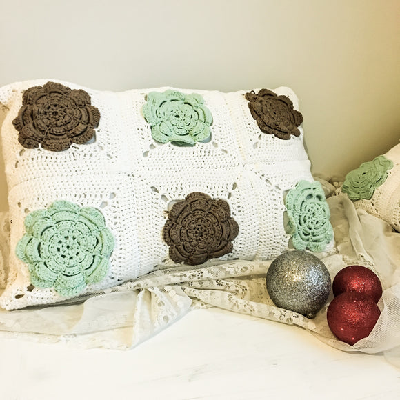 Oblique Granny Square Crochet Cushion