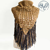 Oversized dark beige and navy cowl