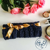 Headband with ribbon - Blue and Gold