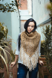 Oversized cowl in beige and cream